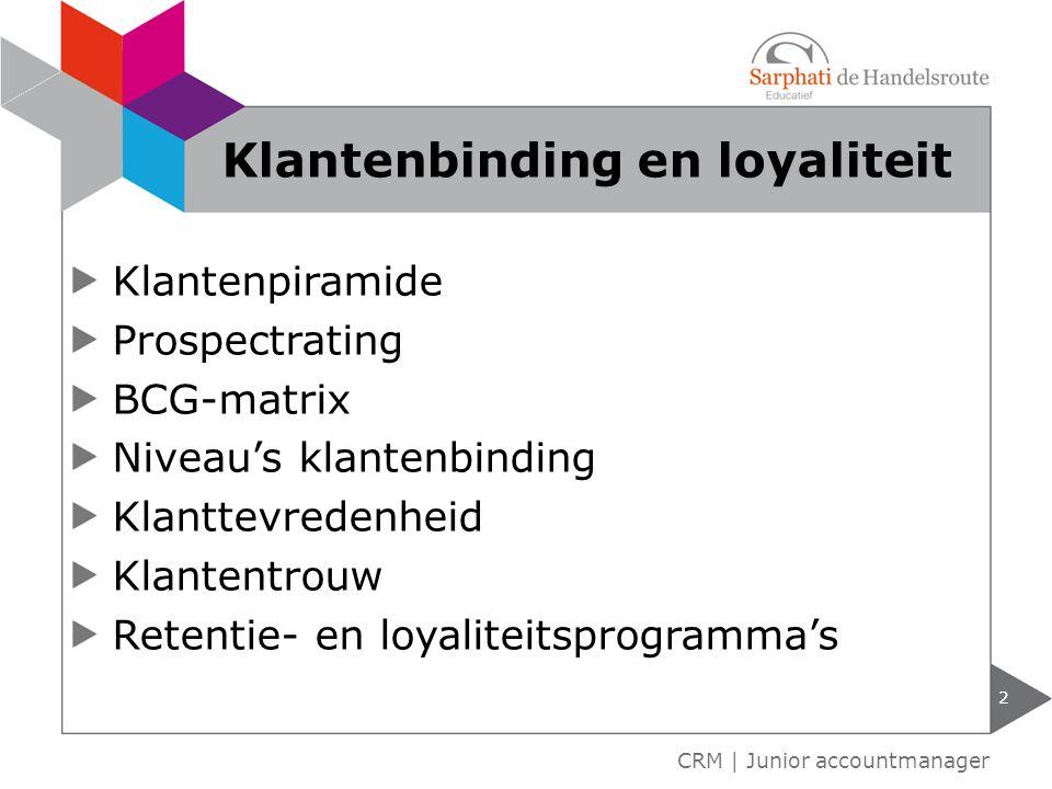 Klantenpiramide Prospectrating BCG-matrix Niveau's klantenbinding Klanttevredenheid Klantentrouw Retentie- en loyaliteitsprogramma's 2 CRM | Junior ac