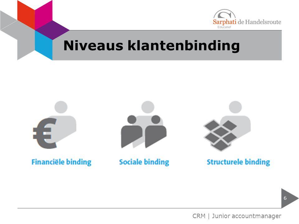 Niveaus klantenbinding 6 CRM | Junior accountmanager