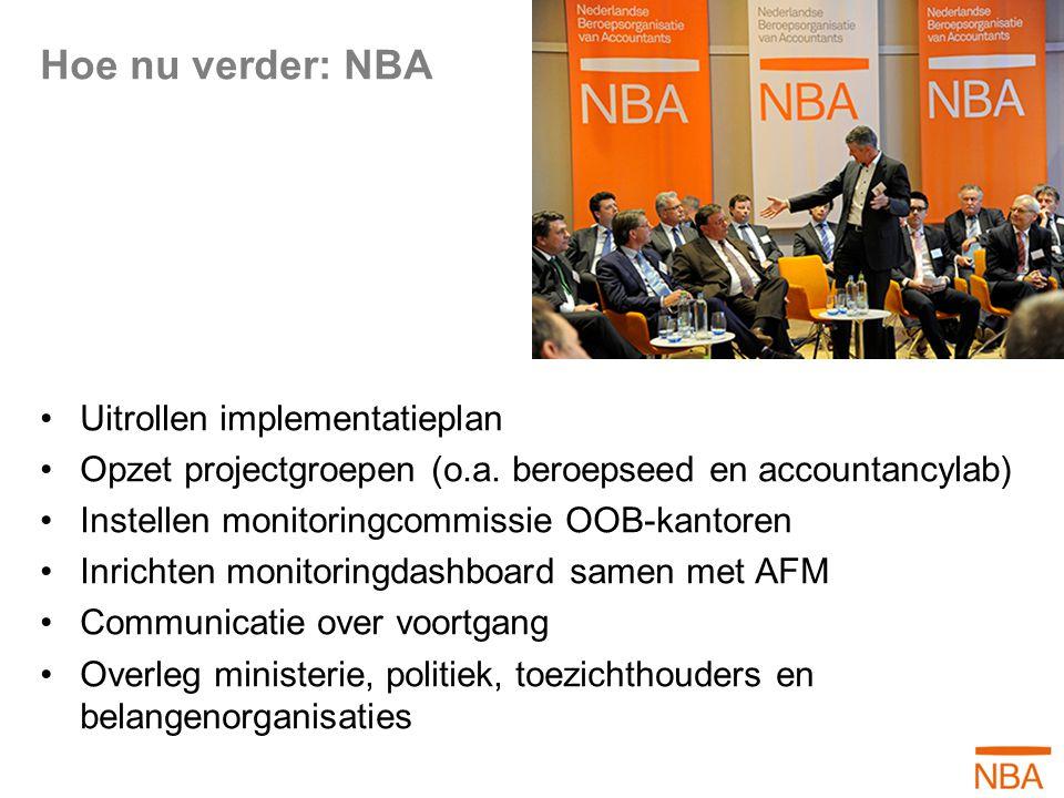 Hoe nu verder: NBA Uitrollen implementatieplan Opzet projectgroepen (o.a. beroepseed en accountancylab) Instellen monitoringcommissie OOB-kantoren Inr
