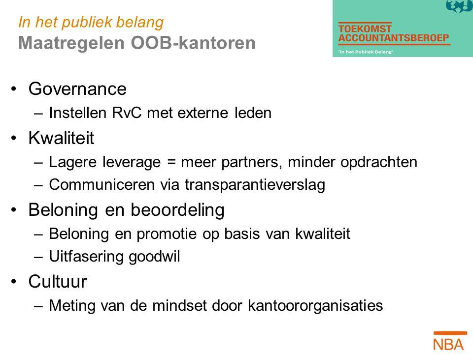In het publiek belang Maatregelen OOB-kantoren Governance –Instellen RvC met externe leden Kwaliteit –Lagere leverage = meer partners, minder opdracht
