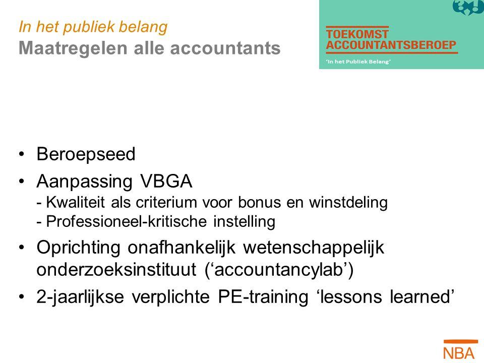 In het publiek belang Maatregelen alle accountants Beroepseed Aanpassing VBGA - Kwaliteit als criterium voor bonus en winstdeling - Professioneel-krit