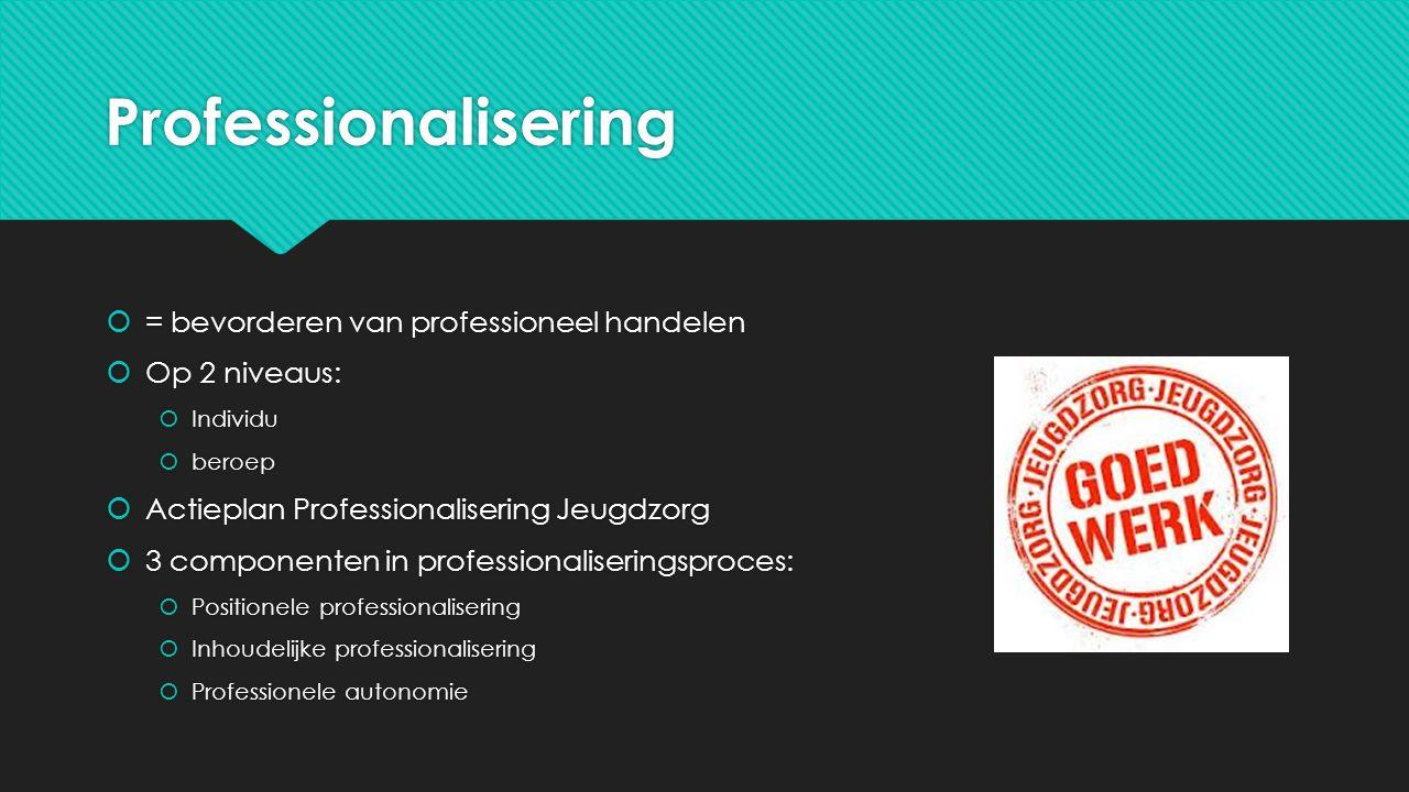 Professionalisering  = bevorderen van professioneel handelen  Op 2 niveaus:  Individu  beroep  Actieplan Professionalisering Jeugdzorg  3 compon
