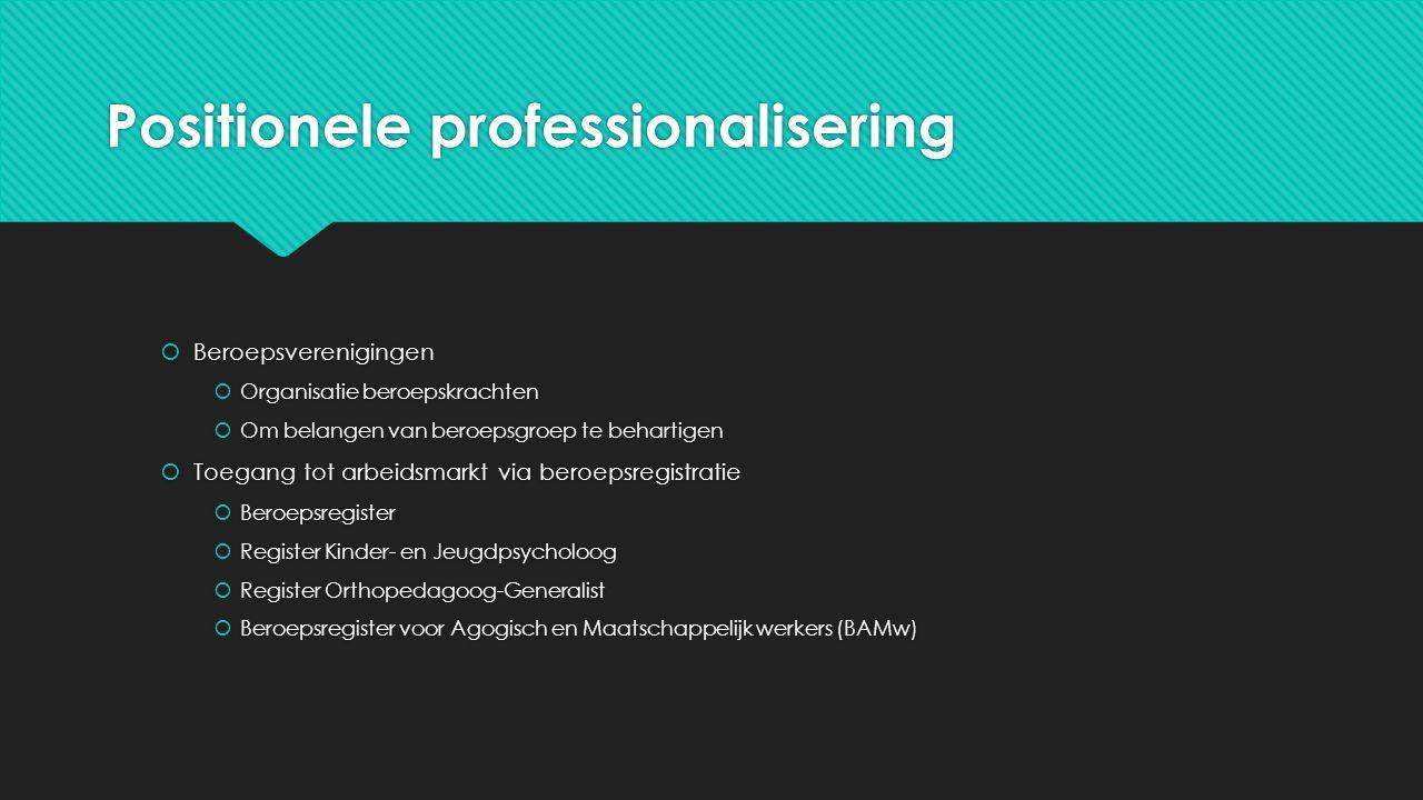 Positionele professionalisering  Beroepsverenigingen  Organisatie beroepskrachten  Om belangen van beroepsgroep te behartigen  Toegang tot arbeids