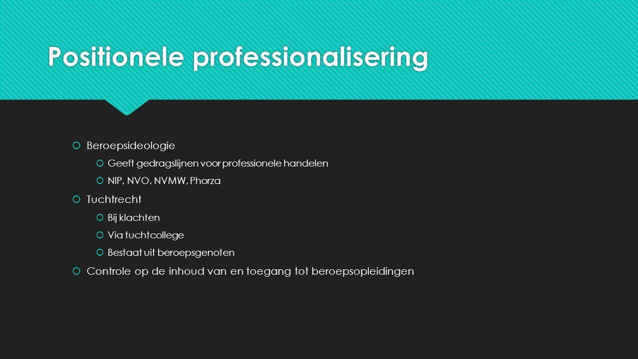 Positionele professionalisering  Beroepsideologie  Geeft gedragslijnen voor professionele handelen  NIP, NVO, NVMW, Phorza  Tuchtrecht  Bij klach