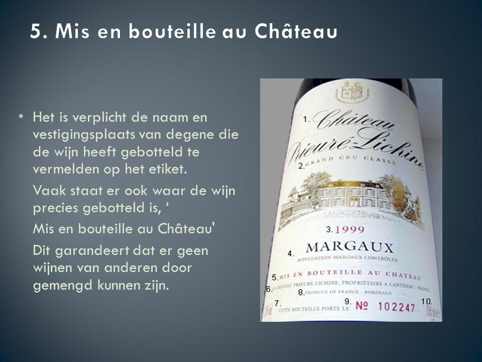 Het is verplicht de naam en vestigingsplaats van degene die de wijn heeft gebotteld te vermelden op het etiket.