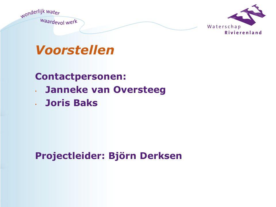 Voorstellen Contactpersonen: Janneke van Oversteeg Joris Baks Projectleider: Björn Derksen