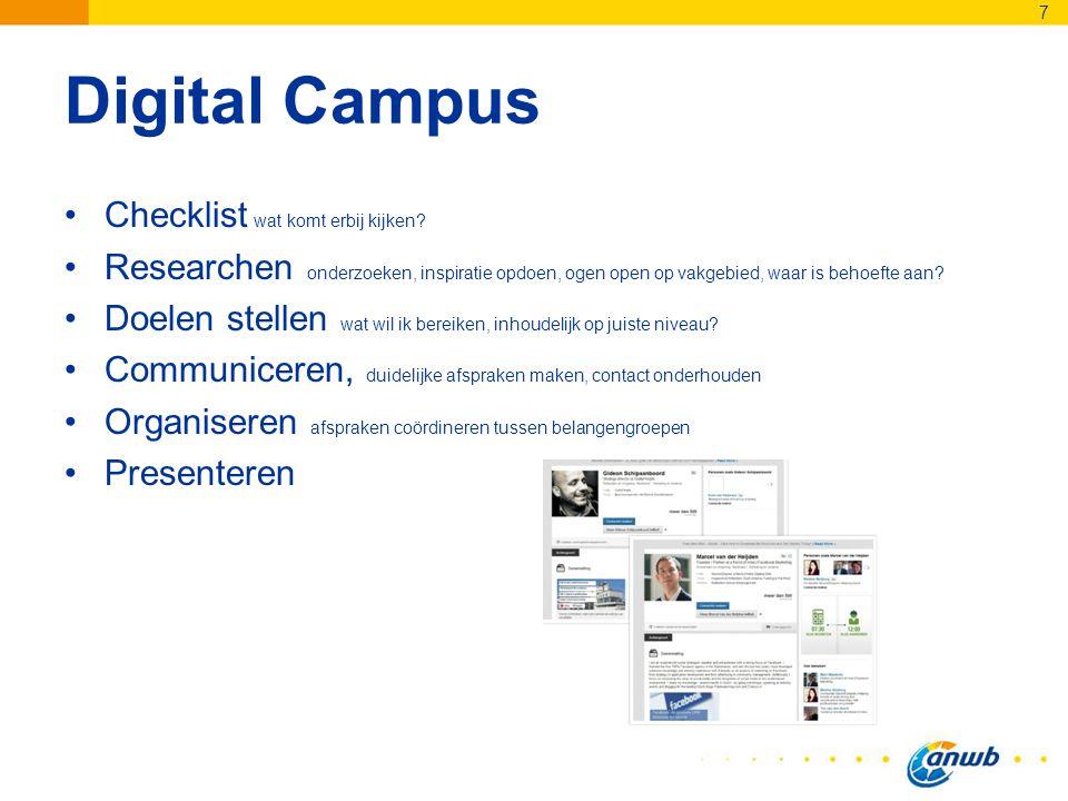 Digital Campus Checklist wat komt erbij kijken? Researchen onderzoeken, inspiratie opdoen, ogen open op vakgebied, waar is behoefte aan? Doelen stelle