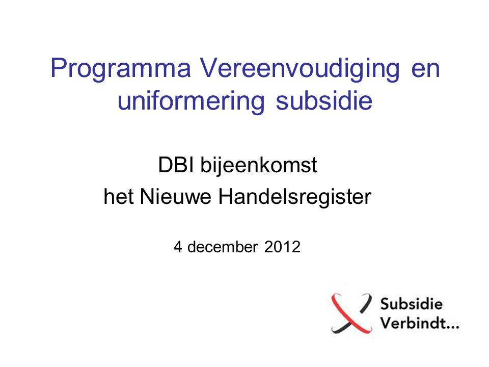 Programma Vereenvoudiging en uniformering subsidie DBI bijeenkomst het Nieuwe Handelsregister 4 december 2012