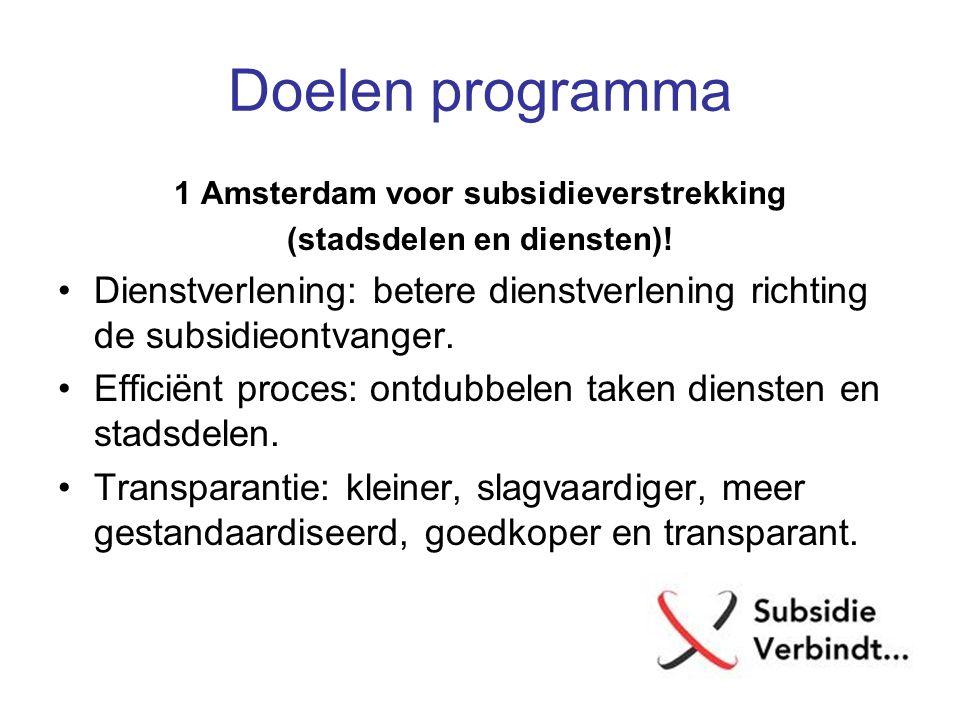 Doelen programma 1 Amsterdam voor subsidieverstrekking (stadsdelen en diensten)! Dienstverlening: betere dienstverlening richting de subsidieontvanger
