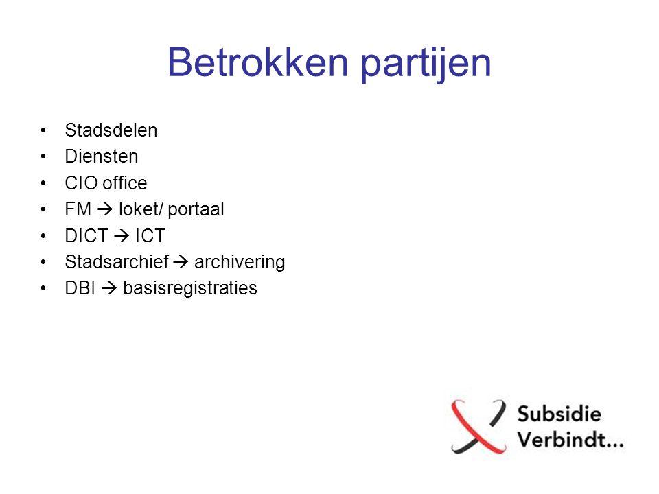 Betrokken partijen Stadsdelen Diensten CIO office FM  loket/ portaal DICT  ICT Stadsarchief  archivering DBI  basisregistraties
