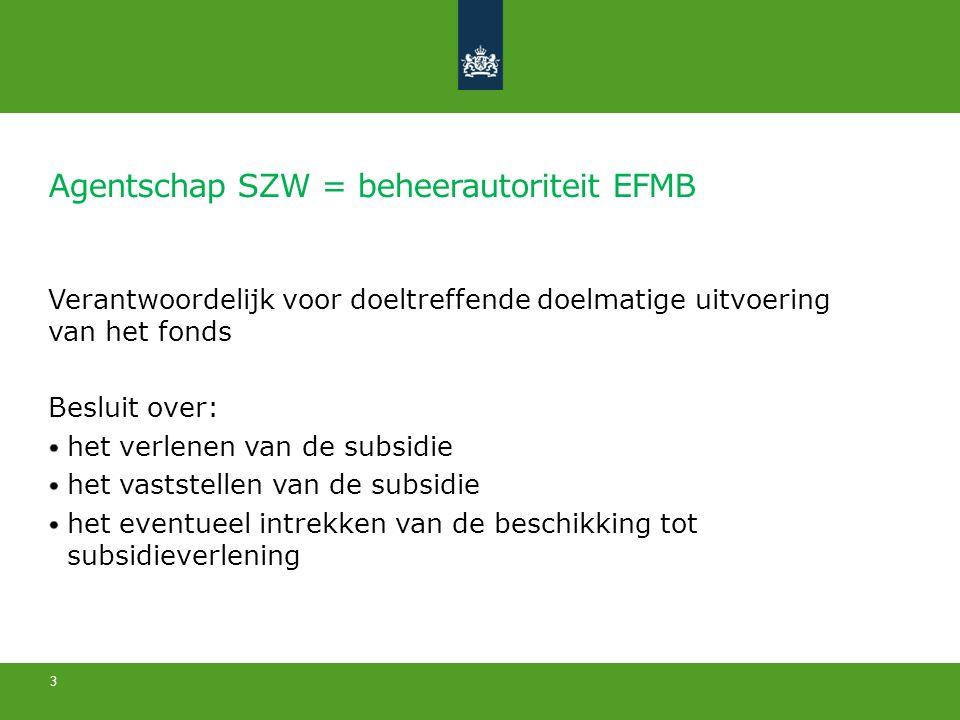 Agentschap SZW = beheerautoriteit EFMB Verantwoordelijk voor doeltreffende doelmatige uitvoering van het fonds Besluit over: het verlenen van de subsidie het vaststellen van de subsidie het eventueel intrekken van de beschikking tot subsidieverlening 3