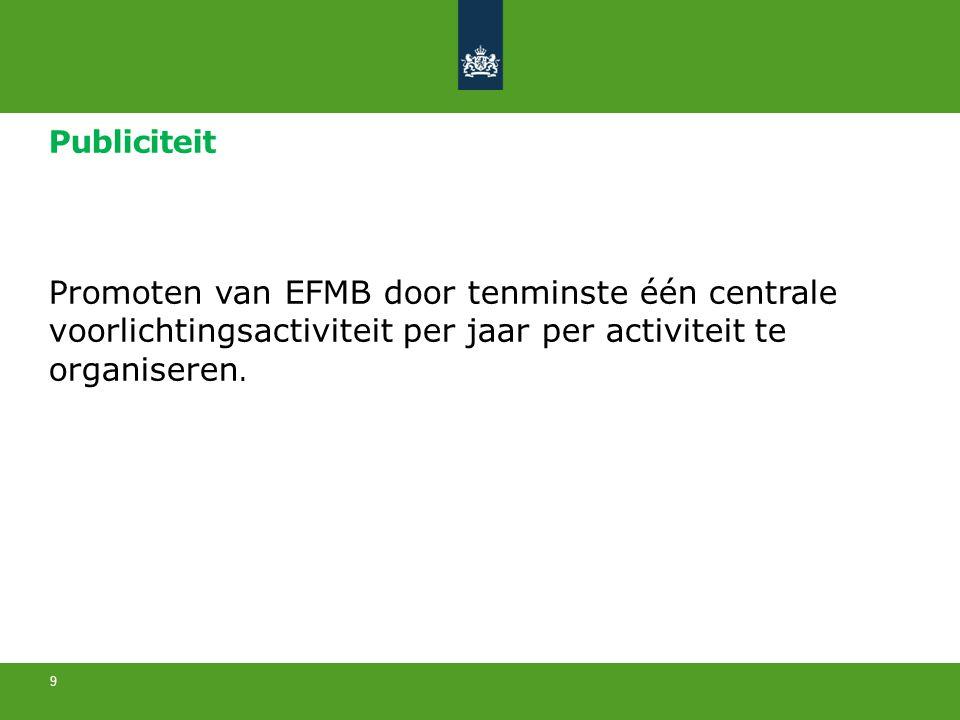 Publiciteit Promoten van EFMB door tenminste één centrale voorlichtingsactiviteit per jaar per activiteit te organiseren. 9