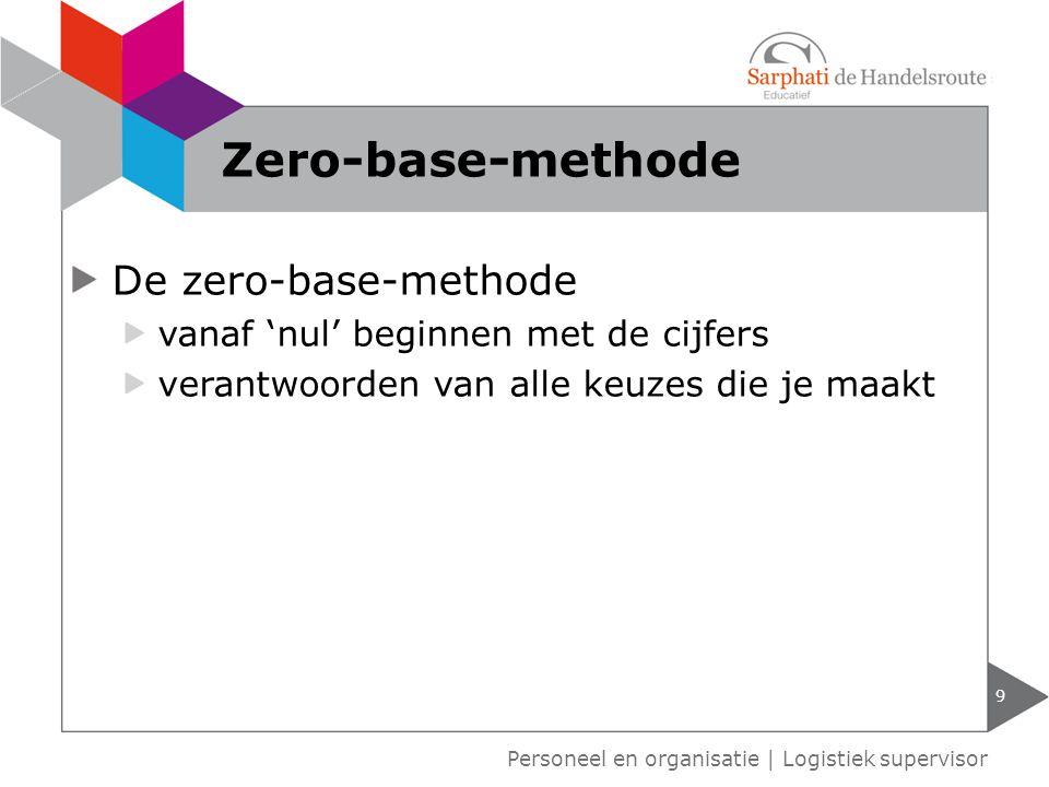 De zero-base-methode vanaf 'nul' beginnen met de cijfers verantwoorden van alle keuzes die je maakt 9 Personeel en organisatie | Logistiek supervisor
