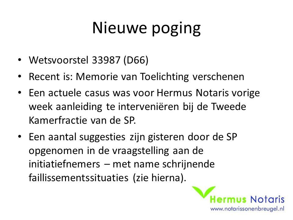 Nieuwe poging Wetsvoorstel 33987 (D66) Recent is: Memorie van Toelichting verschenen Een actuele casus was voor Hermus Notaris vorige week aanleiding te interveniëren bij de Tweede Kamerfractie van de SP.