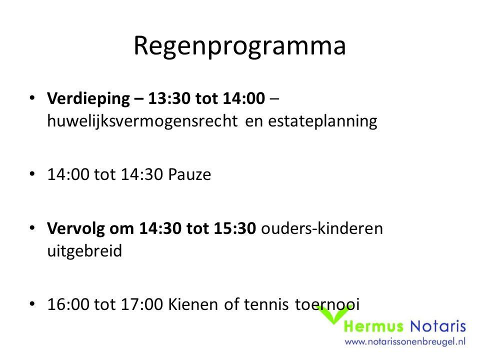 Regenprogramma Verdieping – 13:30 tot 14:00 – huwelijksvermogensrecht en estateplanning 14:00 tot 14:30 Pauze Vervolg om 14:30 tot 15:30 ouders-kinderen uitgebreid 16:00 tot 17:00 Kienen of tennis toernooi
