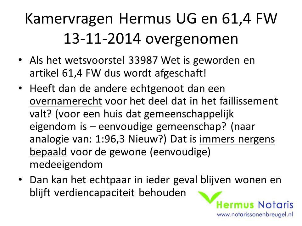 Kamervragen Hermus UG en 61,4 FW 13-11-2014 overgenomen Als het wetsvoorstel 33987 Wet is geworden en artikel 61,4 FW dus wordt afgeschaft.