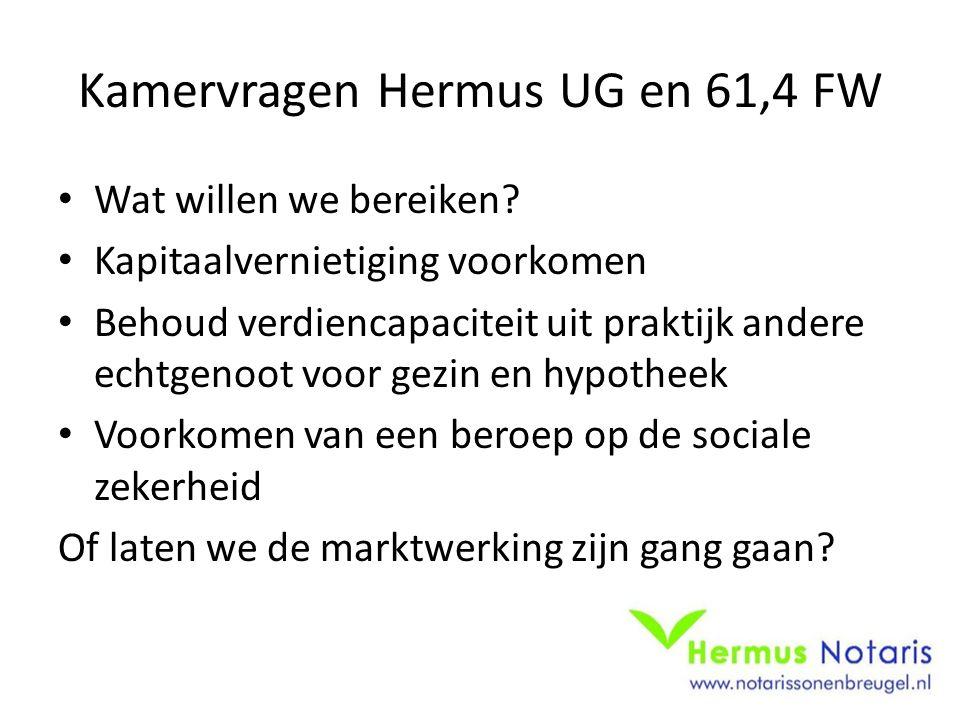 Kamervragen Hermus UG en 61,4 FW Wat willen we bereiken.