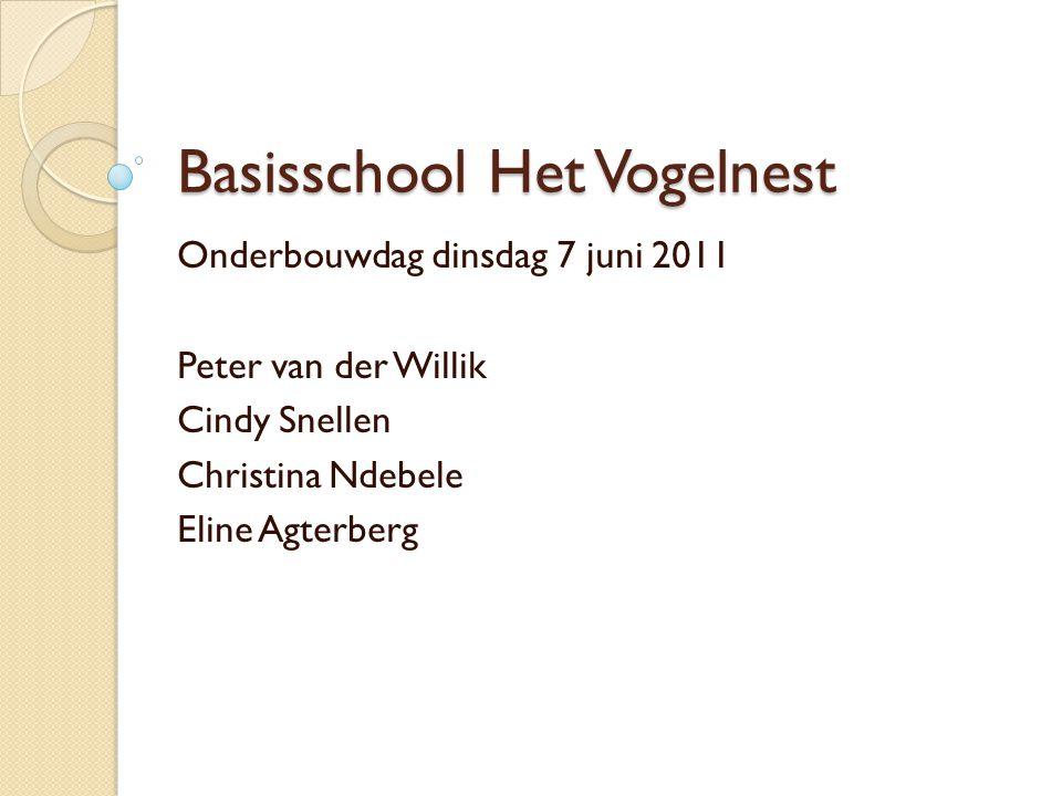 Basisschool Het Vogelnest Onderbouwdag dinsdag 7 juni 2011 Peter van der Willik Cindy Snellen Christina Ndebele Eline Agterberg
