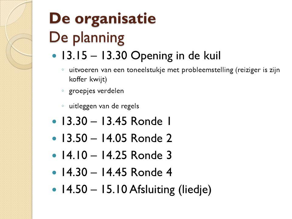 De organisatie De planning 13.15 – 13.30 Opening in de kuil ◦ uitvoeren van een toneelstukje met probleemstelling (reiziger is zijn koffer kwijt) ◦ gr
