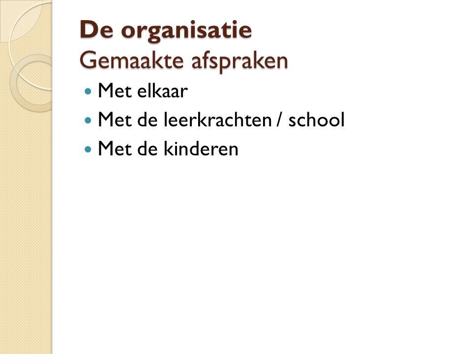 De organisatie Gemaakte afspraken Met elkaar Met de leerkrachten / school Met de kinderen