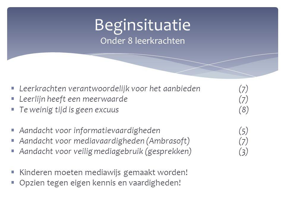  Leerkrachten verantwoordelijk voor het aanbieden (7)  Leerlijn heeft een meerwaarde(7)  Te weinig tijd is geen excuus(8)  Aandacht voor informati