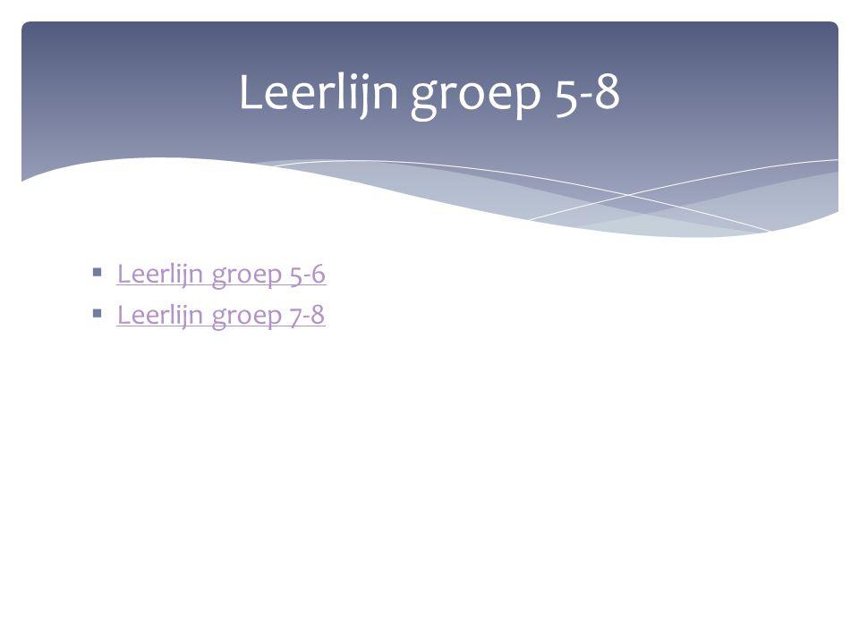  Leerlijn groep 5-6 Leerlijn groep 5-6  Leerlijn groep 7-8 Leerlijn groep 7-8 Leerlijn groep 5-8