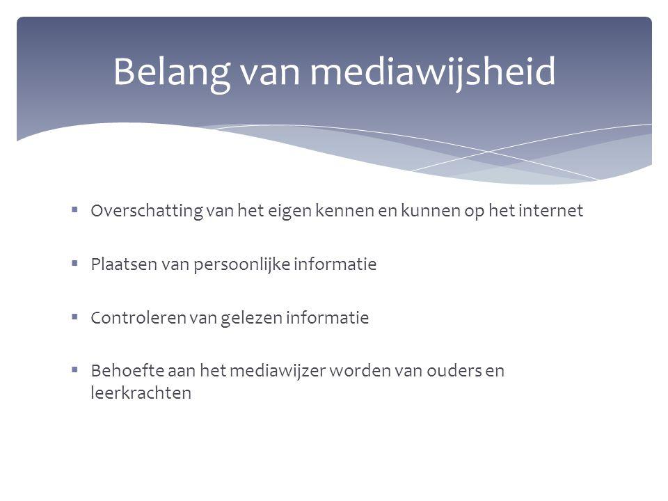  Overschatting van het eigen kennen en kunnen op het internet  Plaatsen van persoonlijke informatie  Controleren van gelezen informatie  Behoefte