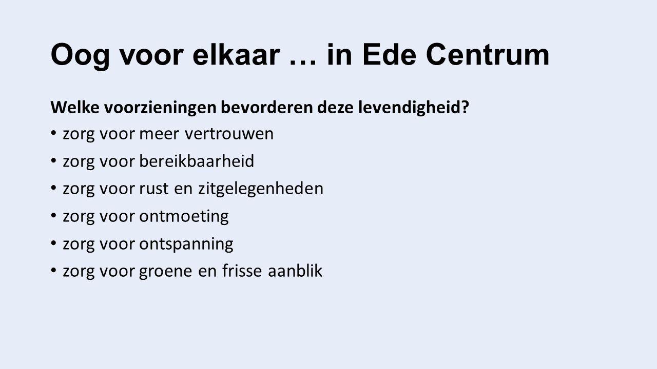 Oog voor elkaar … in Ede Centrum Welke voorzieningen bevorderen deze levendigheid? zorg voor meer vertrouwen zorg voor bereikbaarheid zorg voor rust e