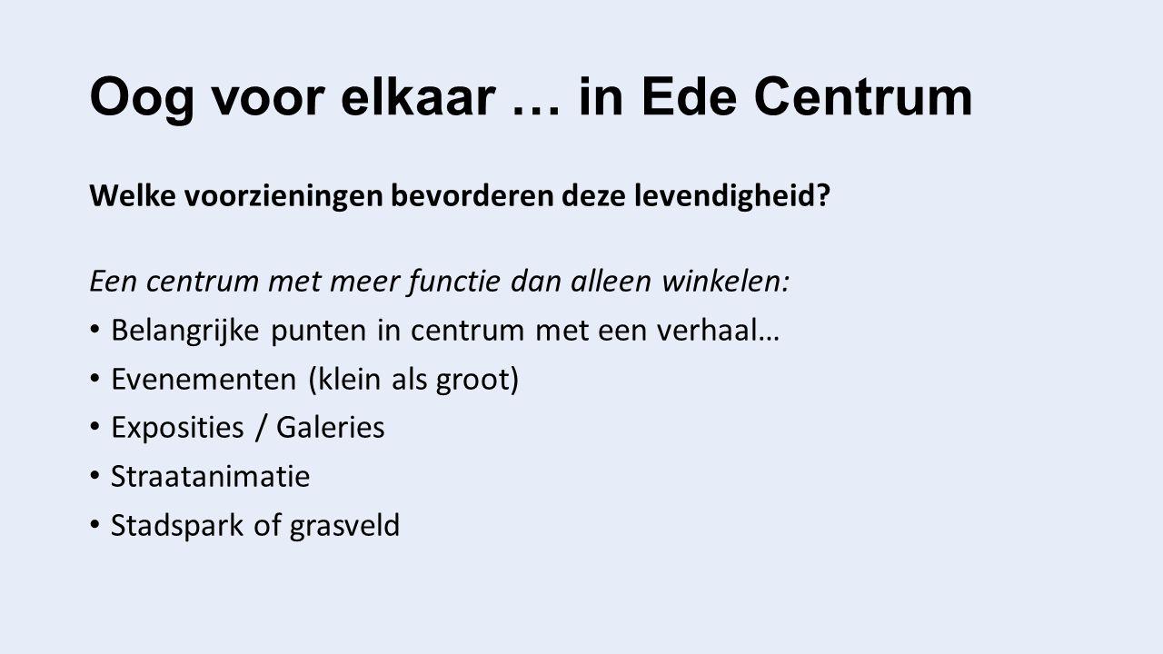 Oog voor elkaar … in Ede Centrum Welke voorzieningen bevorderen deze levendigheid.