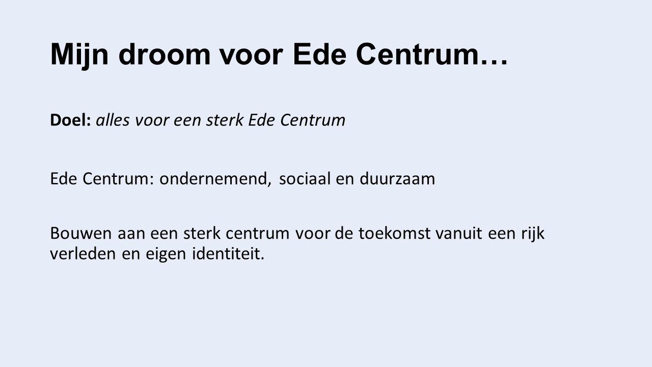 Mijn droom voor Ede Centrum… Doel: alles voor een sterk Ede Centrum Ede Centrum: ondernemend, sociaal en duurzaam Bouwen aan een sterk centrum voor de toekomst vanuit een rijk verleden en eigen identiteit.