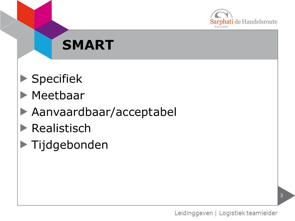 Specifiek Meetbaar Aanvaardbaar/acceptabel Realistisch Tijdgebonden 3 Leidinggeven | Logistiek teamleider SMART