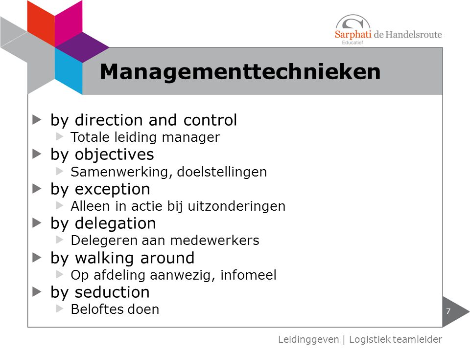 by direction and control Totale leiding manager by objectives Samenwerking, doelstellingen by exception Alleen in actie bij uitzonderingen by delegati