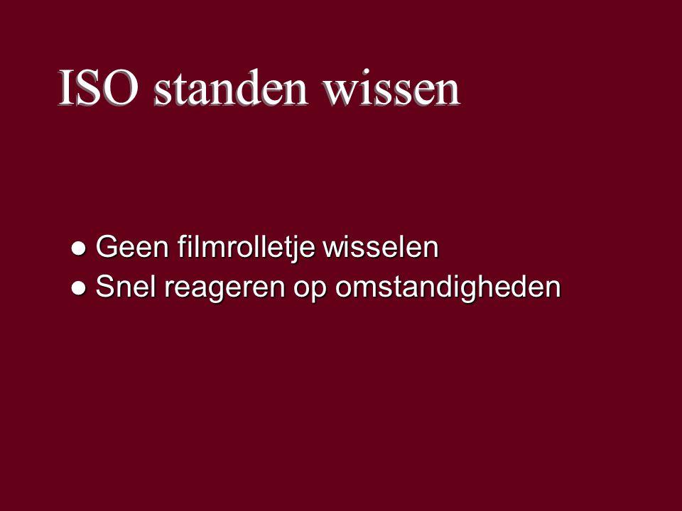 ISO standen wissen Geen filmrolletje wisselen Geen filmrolletje wisselen Snel reageren op omstandigheden Snel reageren op omstandigheden Geen filmrolletje wisselen Geen filmrolletje wisselen Snel reageren op omstandigheden Snel reageren op omstandigheden