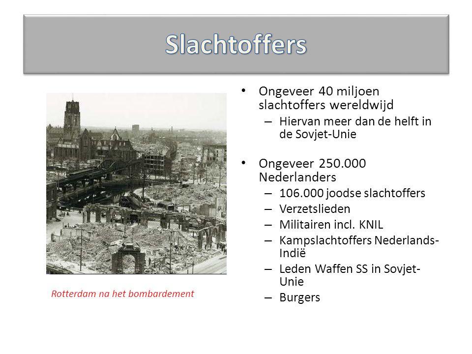 Ongeveer 40 miljoen slachtoffers wereldwijd – Hiervan meer dan de helft in de Sovjet-Unie Ongeveer 250.000 Nederlanders – 106.000 joodse slachtoffers