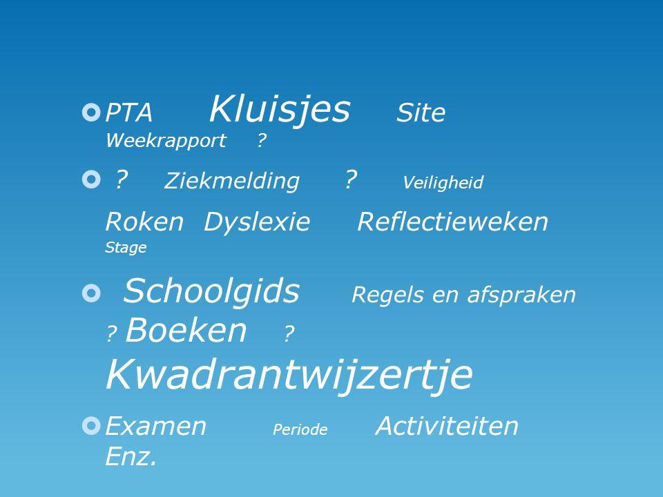  PTA Kluisjes Site Weekrapport . . Ziekmelding .