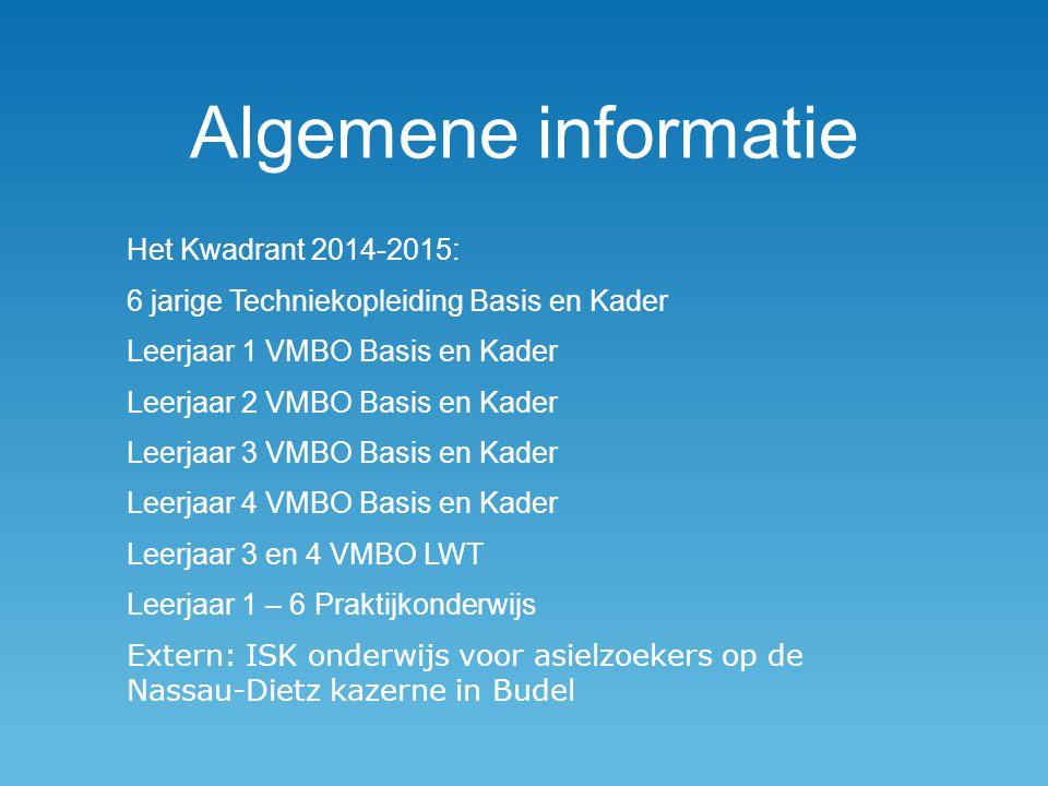 Algemene informatie Het Kwadrant 2014-2015: 6 jarige Techniekopleiding Basis en Kader Leerjaar 1 VMBO Basis en Kader Leerjaar 2 VMBO Basis en Kader Le