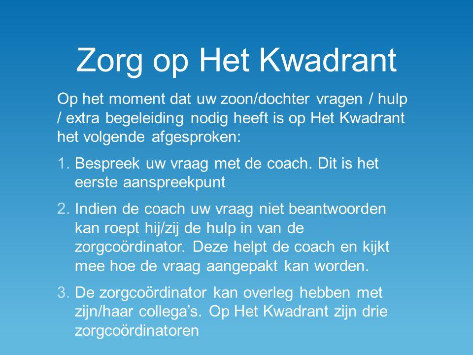 Zorg op Het Kwadrant Op het moment dat uw zoon/dochter vragen / hulp / extra begeleiding nodig heeft is op Het Kwadrant het volgende afgesproken: 1.Bespreek uw vraag met de coach.
