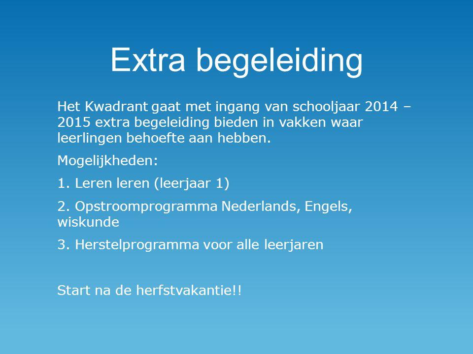 Extra begeleiding Het Kwadrant gaat met ingang van schooljaar 2014 – 2015 extra begeleiding bieden in vakken waar leerlingen behoefte aan hebben. Moge