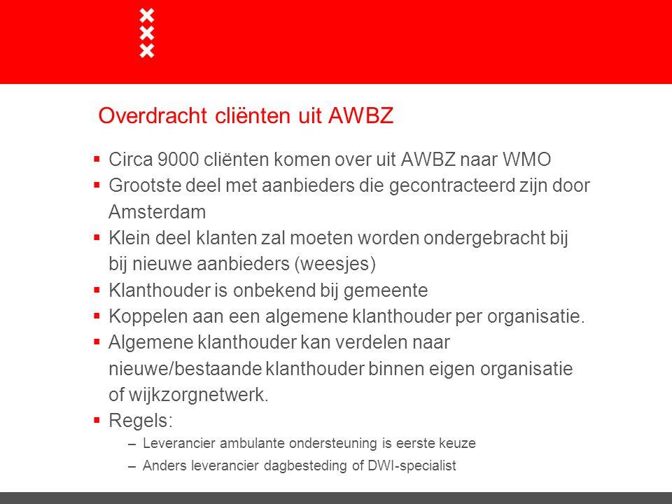 Overdracht cliënten uit AWBZ  Circa 9000 cliënten komen over uit AWBZ naar WMO  Grootste deel met aanbieders die gecontracteerd zijn door Amsterdam