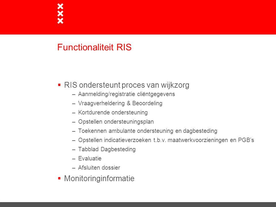 Functionaliteit RIS  RIS ondersteunt proces van wijkzorg –Aanmelding/registratie cliëntgegevens –Vraagverheldering & Beoordeling –Kortdurende onderst
