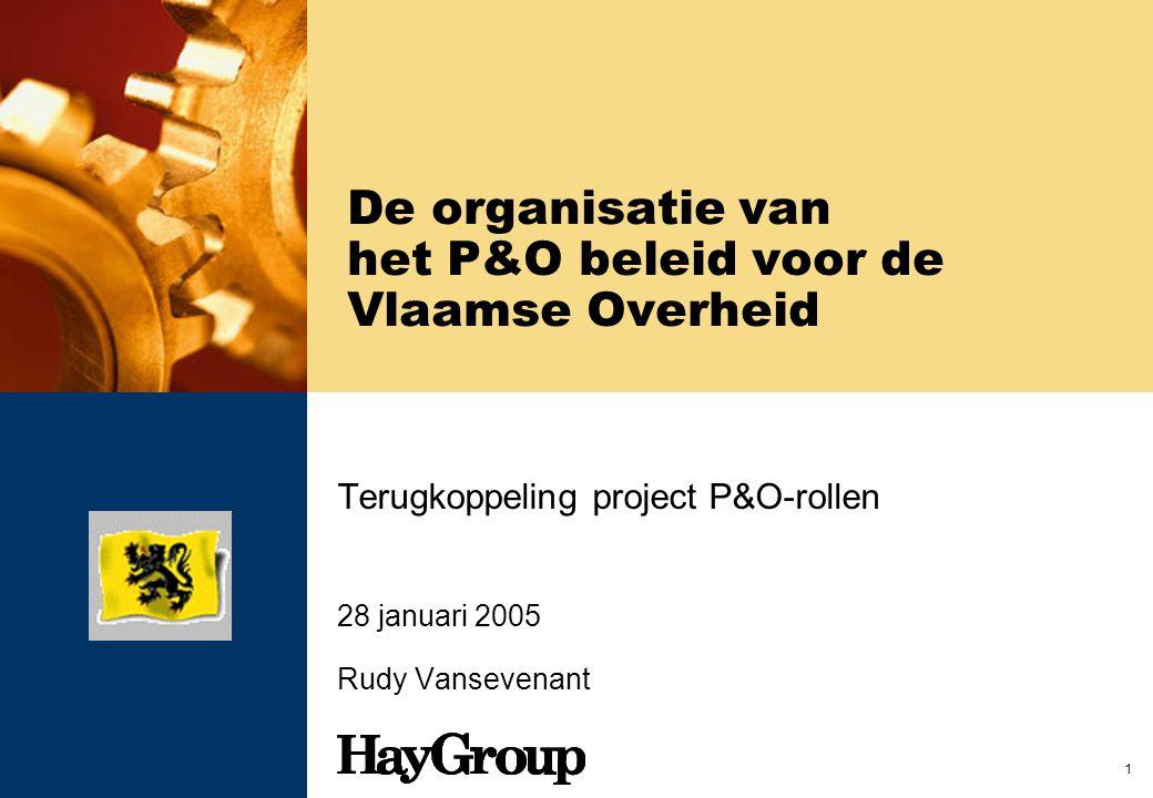 1 De organisatie van het P&O beleid voor de Vlaamse Overheid Terugkoppeling project P&O-rollen 28 januari 2005 Rudy Vansevenant