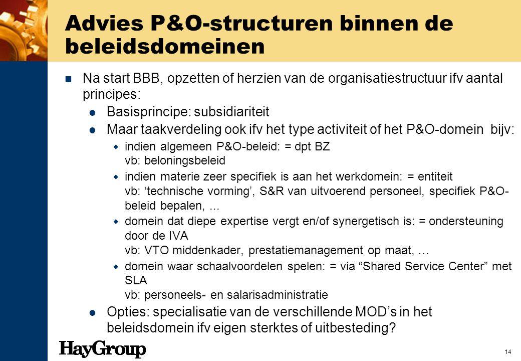 14 Advies P&O-structuren binnen de beleidsdomeinen Na start BBB, opzetten of herzien van de organisatiestructuur ifv aantal principes: Basisprincipe: