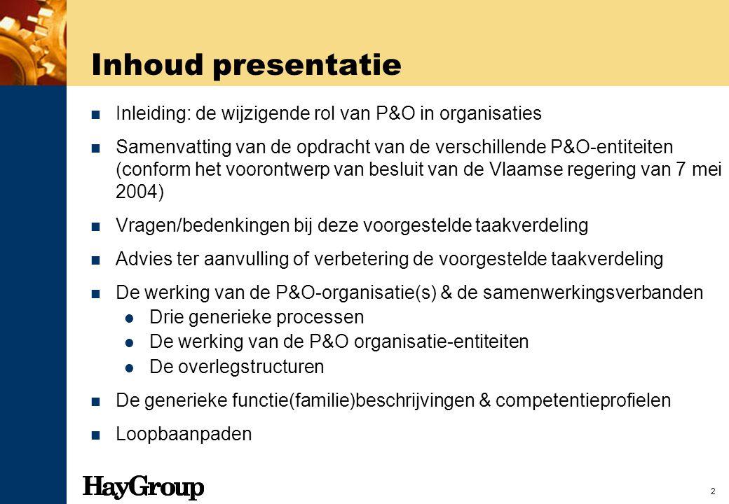 2 Inhoud presentatie Inleiding: de wijzigende rol van P&O in organisaties Samenvatting van de opdracht van de verschillende P&O-entiteiten (conform he