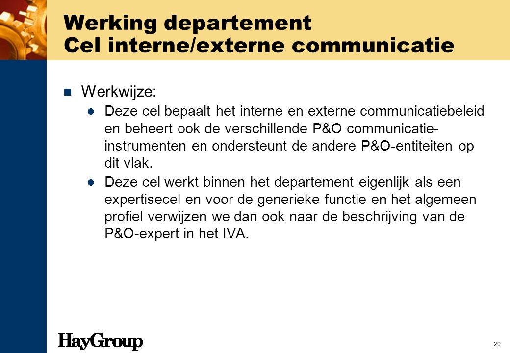 20 Werking departement Cel interne/externe communicatie Werkwijze: Deze cel bepaalt het interne en externe communicatiebeleid en beheert ook de versch
