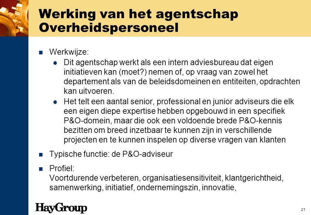 21 Werking van het agentschap Overheidspersoneel Werkwijze: Dit agentschap werkt als een intern adviesbureau dat eigen initiatieven kan (moet?) nemen