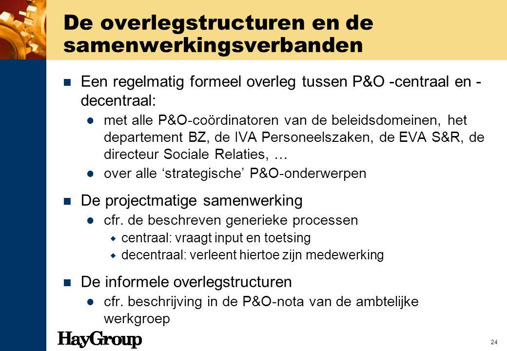 24 De overlegstructuren en de samenwerkingsverbanden Een regelmatig formeel overleg tussen P&O -centraal en - decentraal: met alle P&O-coördinatoren v