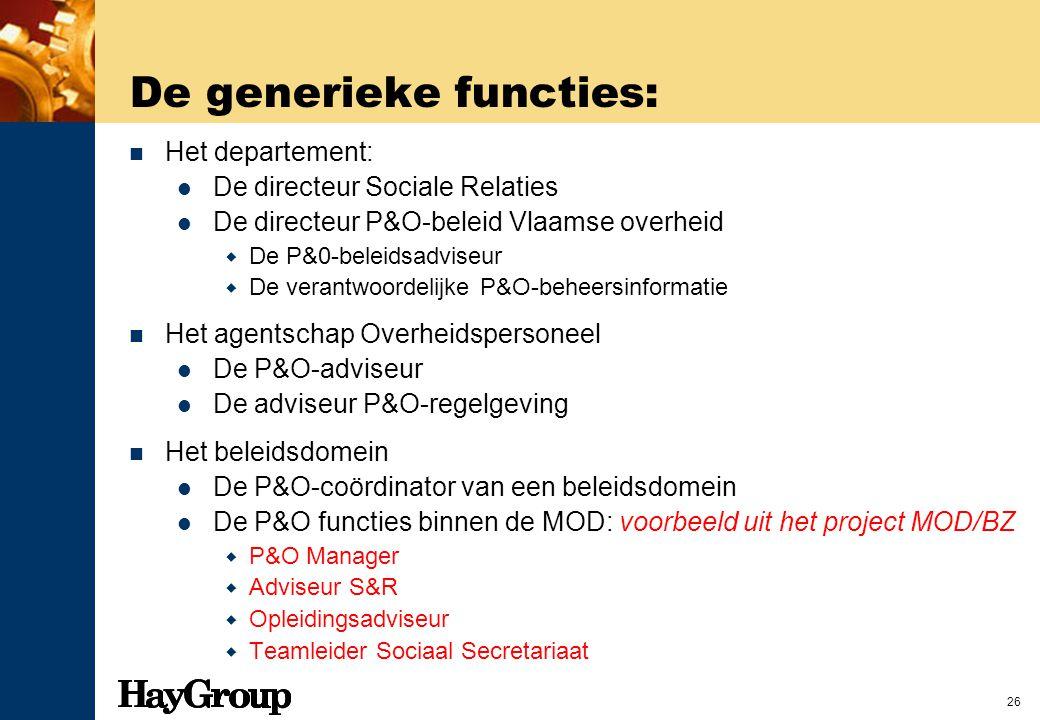 26 De generieke functies: Het departement: De directeur Sociale Relaties De directeur P&O-beleid Vlaamse overheid  De P&0-beleidsadviseur  De verant