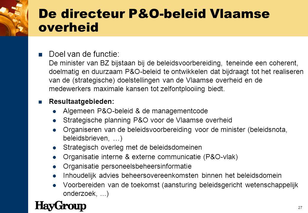 27 De directeur P&O-beleid Vlaamse overheid Doel van de functie: De minister van BZ bijstaan bij de beleidsvoorbereiding, teneinde een coherent, doelm