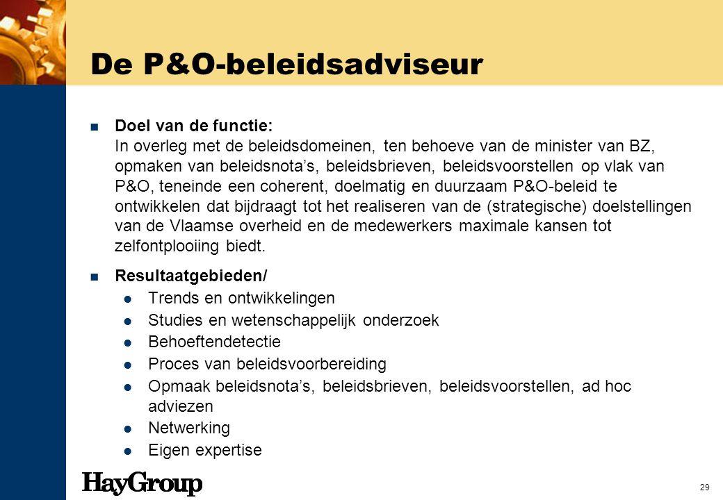 29 De P&O-beleidsadviseur Doel van de functie: In overleg met de beleidsdomeinen, ten behoeve van de minister van BZ, opmaken van beleidsnota's, belei