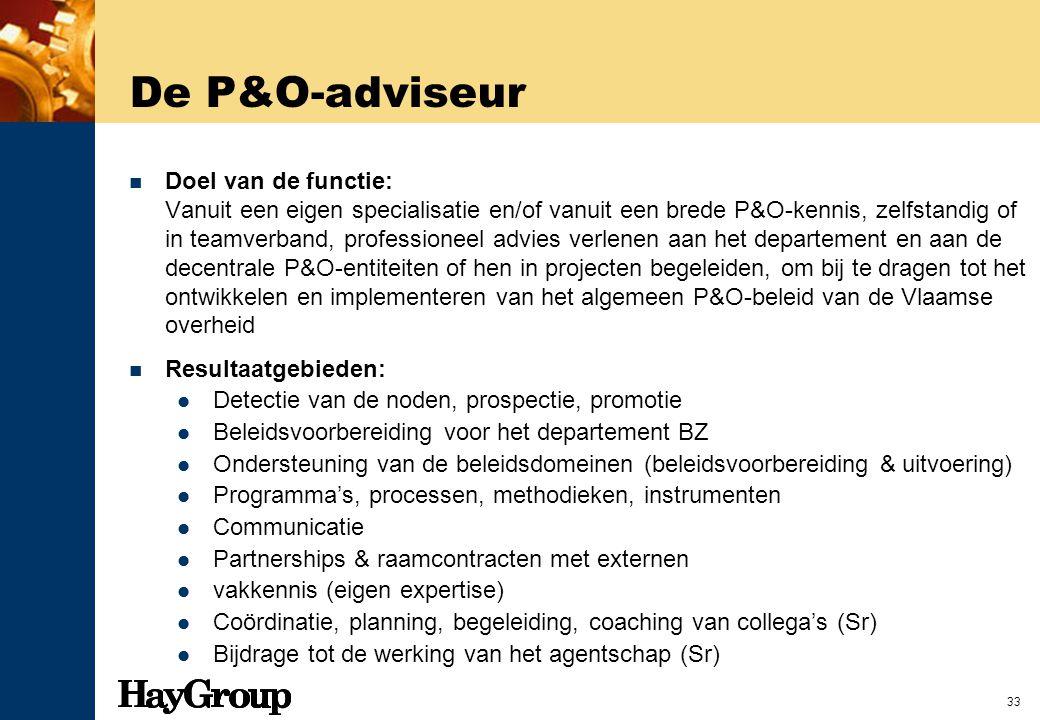 33 De P&O-adviseur Doel van de functie: Vanuit een eigen specialisatie en/of vanuit een brede P&O-kennis, zelfstandig of in teamverband, professioneel